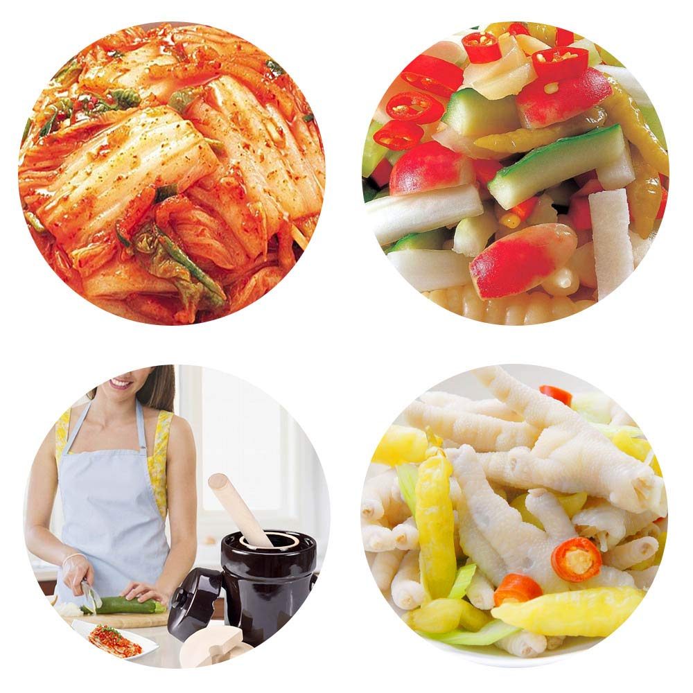 Fermentation Crock Jar 2 Liter / 0.5 Gallon - Stoneware Pot for Fermenting, Pickling Kimchi, Sauerkraut, Pickles, Vegetables, Kombucha - Glazed Fermenter with Stone Weights, Lid & Pickle Tamper by Seeutek (Image #3)