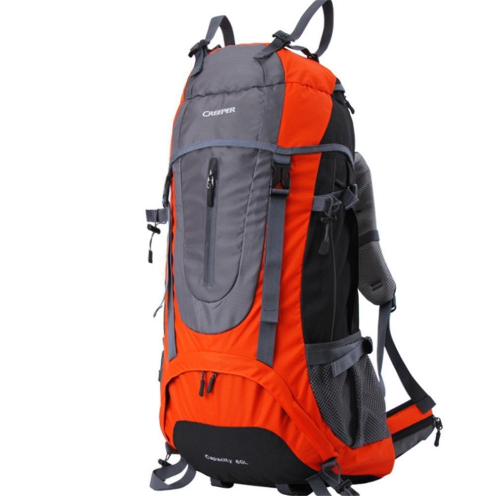 45l 60l 65lバックパックメンズレディース登山バッグオスメスdouble-shoulder防水バックパック、オレンジ、60l   B06Y65JTGG