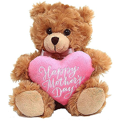 Plushland Mocha Bear, Holding a Heart in Pink Printed Happy Mother's Day Message (Mocha)