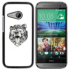 Oso Rugido Modelo tribal de tinta blanca Arte- Metal de aluminio y de plástico duro Caja del teléfono - Negro - HTC ONE MINI 2 / M8 MINI