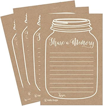 Amazon Com 25 Funeral Or Birthday Share A Memory Cards Keepsake Personalized Memorial Acknowledgment For Holder Remembrance Appreciation Celebration Of Life Service Supplies Guest Book Alternative Advice Game Office Products