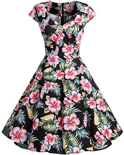 Bbonlinedress Vestido Corto Mujer Retro Años 50 Vintage Escote En Pico Black Flower