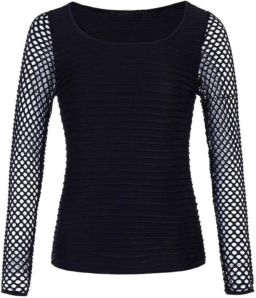 DENGZI Femmes T-Shirt /à Manches Longues Coupe Basse Hauts en r/ésille Gothique