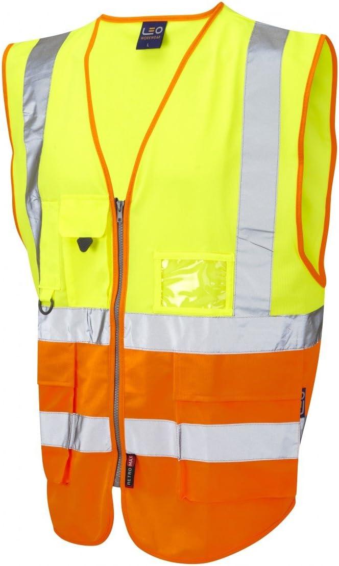Leo Workwear Lynton W11 Zweifarbige Warnweste Klasse 1 mehrere Taschen