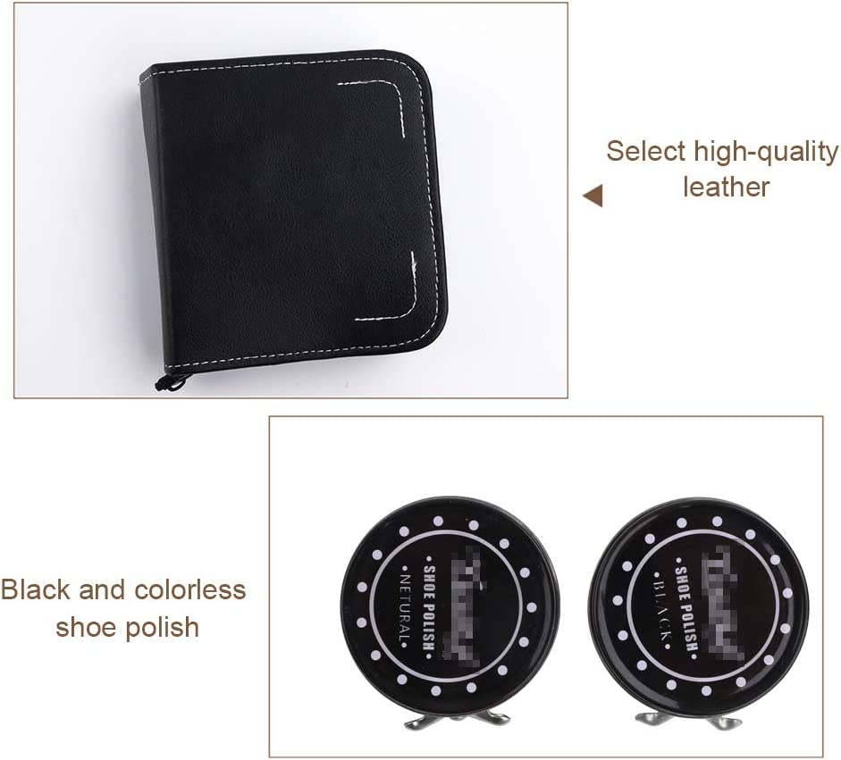 Kit de cirage de chaussures portable 9 pi/èces comprenant 1 sac de rangement noir 1 chausse-pied et 1 chiffon. 2 petites et grandes brosses /à chaussures en crin de cheval 2 cirons /à chaussures