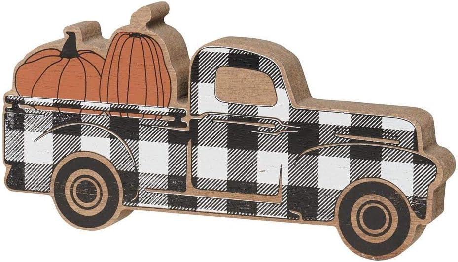 Wooden Pickup Truck with Pumpkins Shelf Sitter (Checkered)