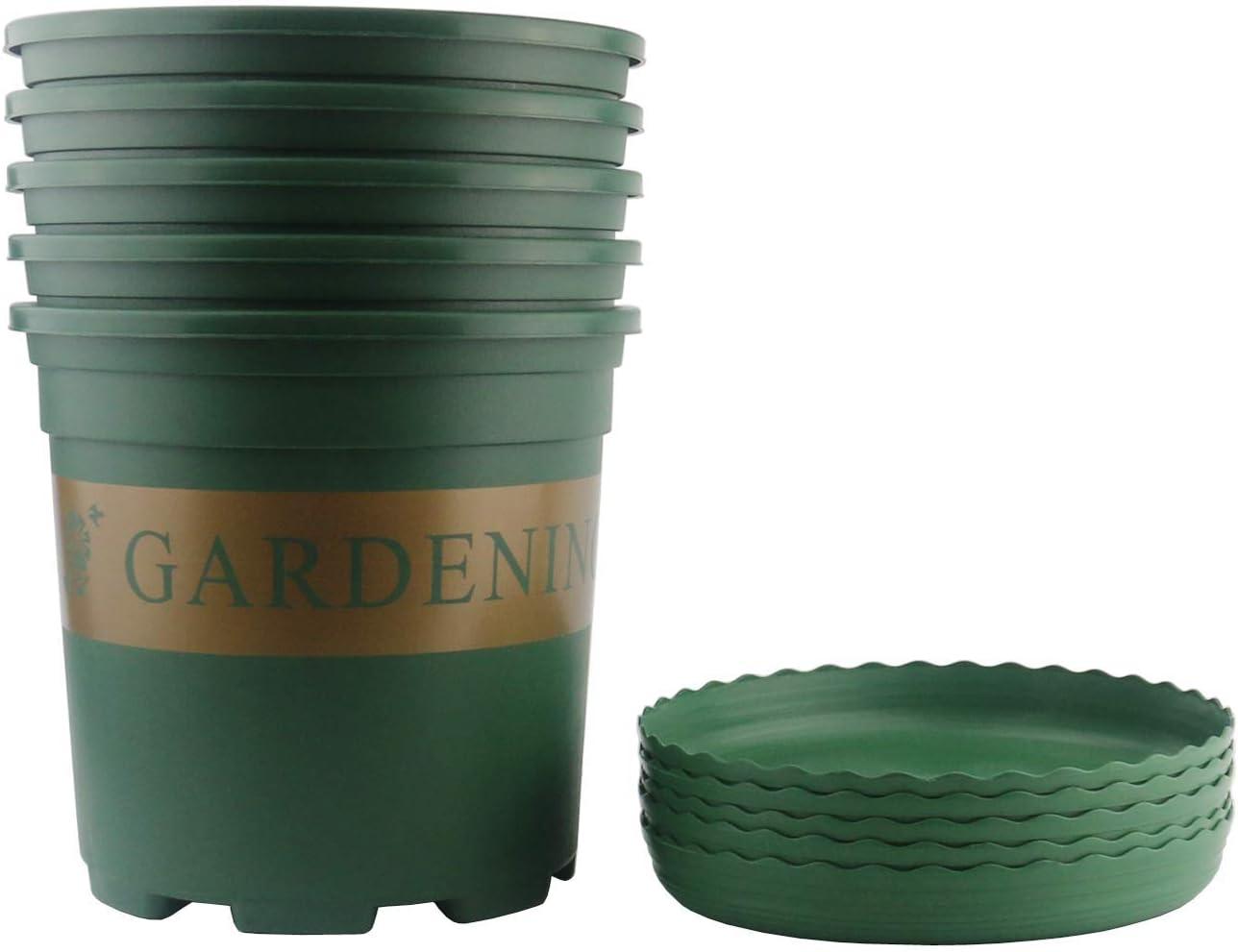 Ogrmar 5PCS 5 Gallon Durable Nursery Pot/Garden Planter Pots/Nursery Plant Container with 5PCS Pallet (5 Gallon) (Renewed)