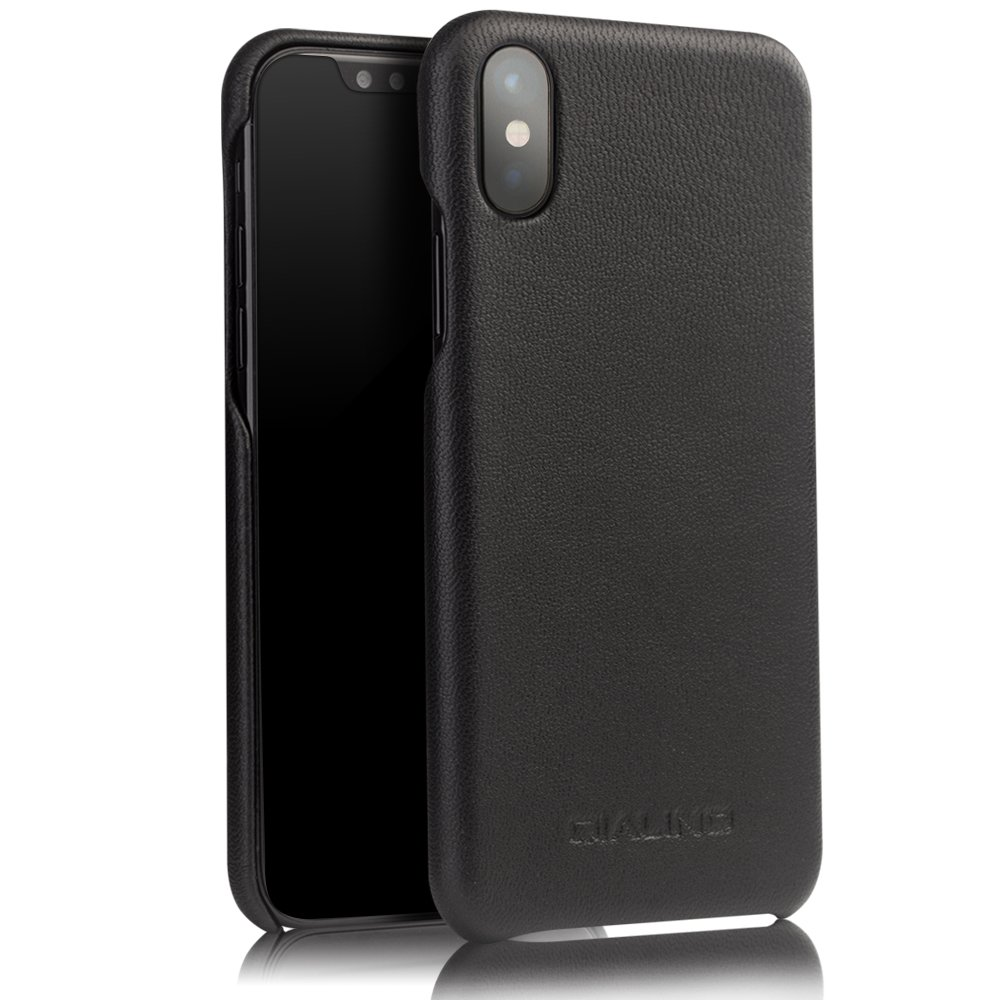 iPhone X Case, QIALINO [Slim Fiting Back Cover] Genuine Leather iPhone X Phone Bumper Case for Apple iPhone X - Black
