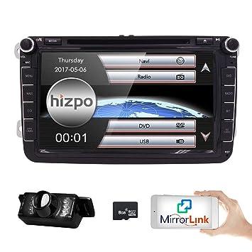 HIZPO 8 inch Double Din In Dash Car Stereo for VW Volkswagen Golf Passat  Polo Jetta Tiguan EOS Touran Scirocco Skoda Seat with DVD Player Multimedia