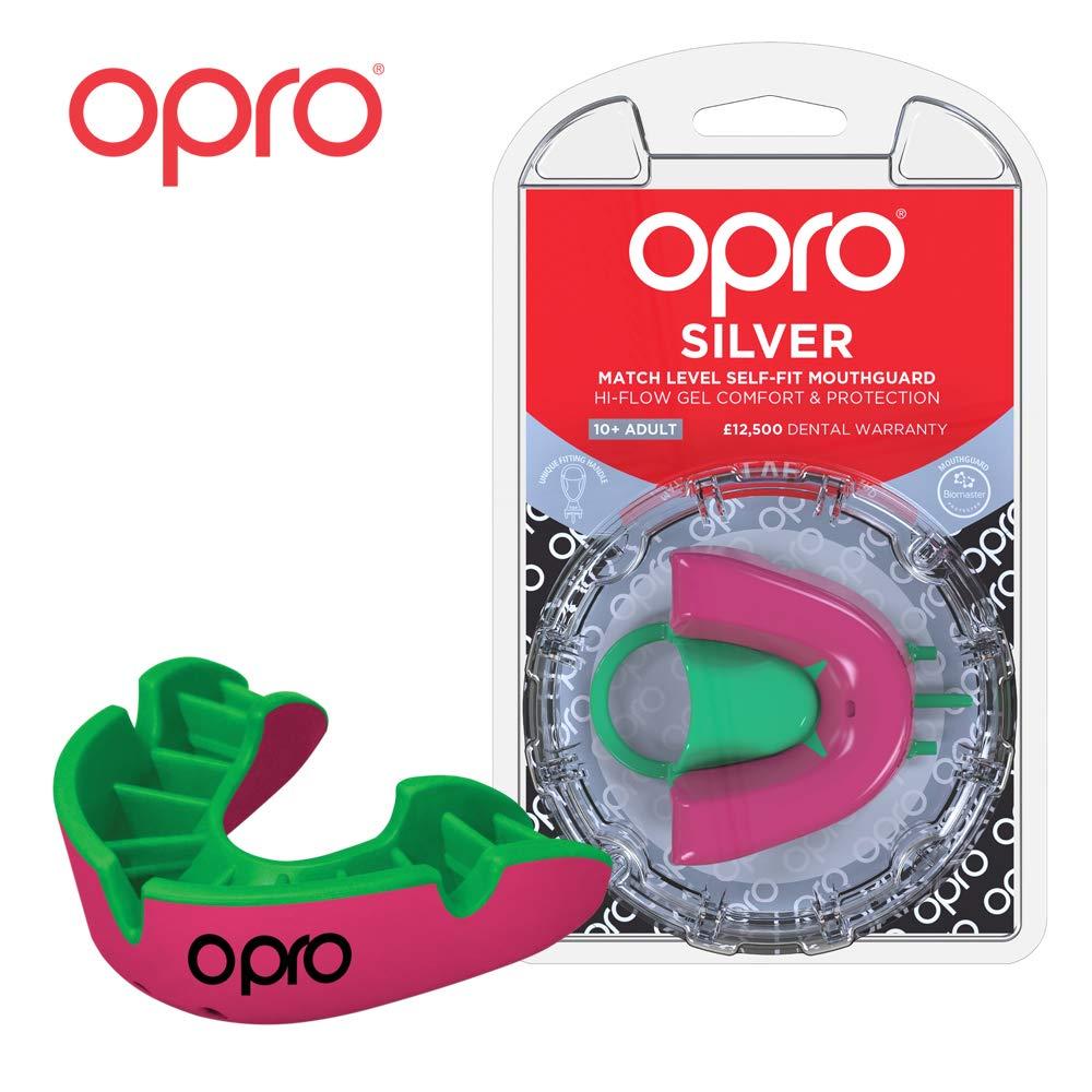Hockey f/útbol Americano Fabricado en Reino Unido OPRO Protector Bucal Self-Fit Silver para Rugby Baloncesto y m/ás Lacrosse