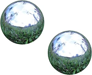 Pack of 2, Stainless Steel Hollow Gazing Ball Mirror Polished Shiny Sphere for Home Garden Ornament (3 Inch)