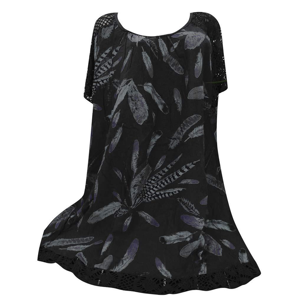 Mlide Women's Casual Short Sleeve Floral Dress O-Neck Print Patchwork Hollow Out Tops Shirt Blouse,Black M