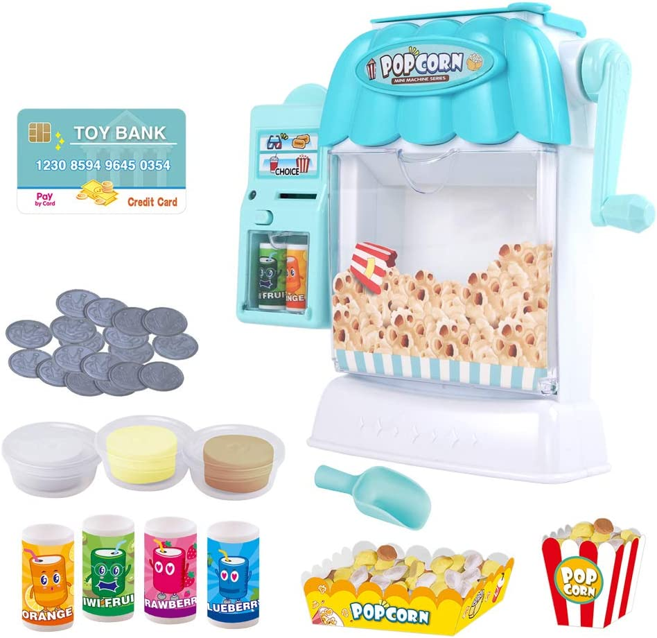 Ainek Toy Popcorn Maker - Hand Cranked Popcorn & Vending Machine Toy, Cinema Movie Night Role Pretend Play, Early Developmental Toy for Toddlers Baby Kids at Age of 3 4 5 6