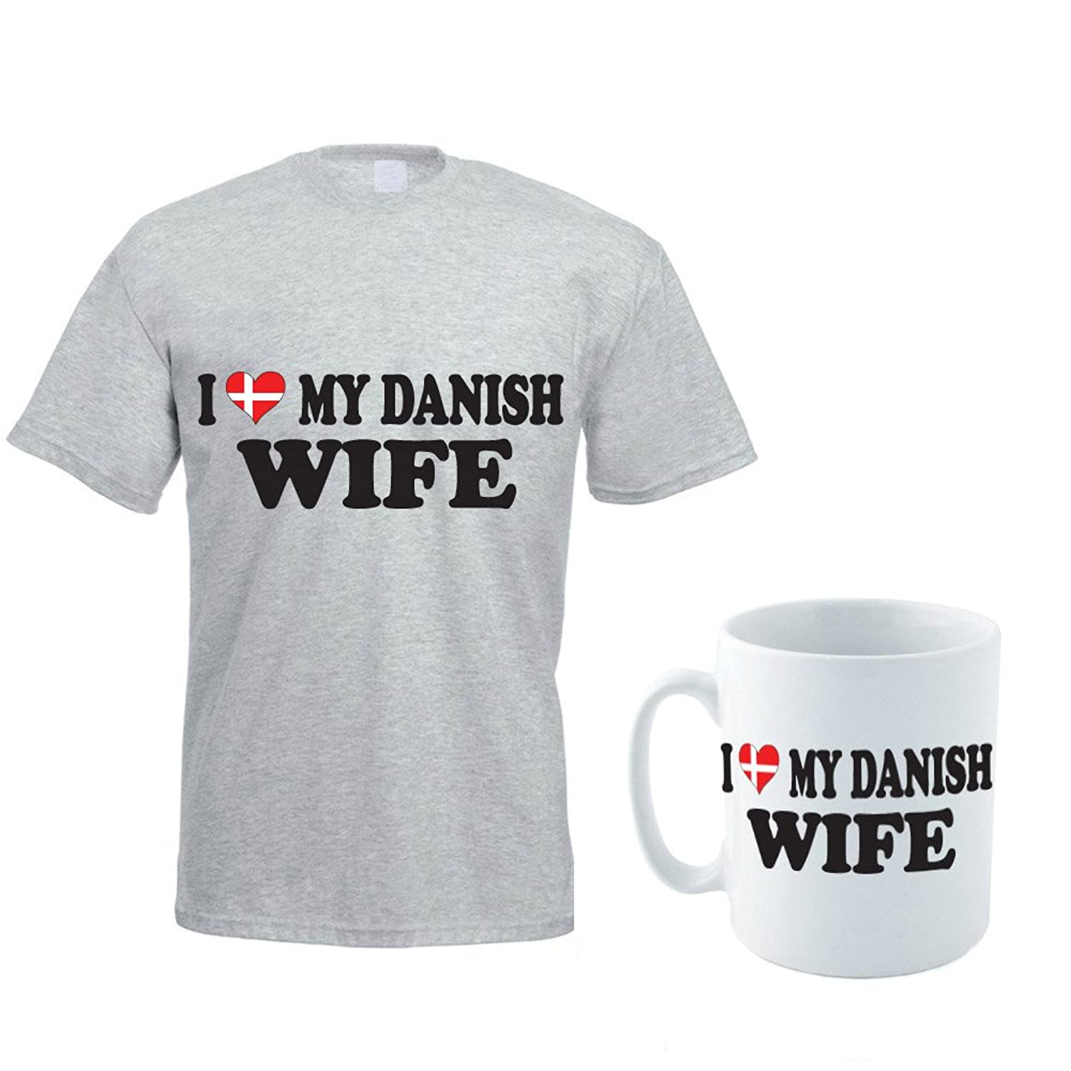 I LOVE MY DANISH WIFE - Denmark / Europe / Valentine's Day / Novelty Themed Men's T-Shirt and Ceramic Mug Set