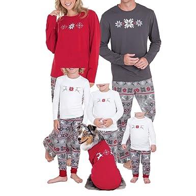 Chicolife familia juego pijamas copo de nieve ciervos de la Navidad impresión fija ropa de dormir pijamas para familia hombres mujeres niños: Amazon.es: ...