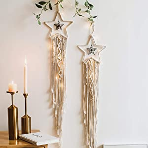 JOBOSI 2Pcs Star Dream Catcher,Macrame Woven Wall Hanging Star Dream Catcher Boho Chic Bohemian Home Decor Wall Art Decor Beautiful Apartment Dorm Room Door Decoration