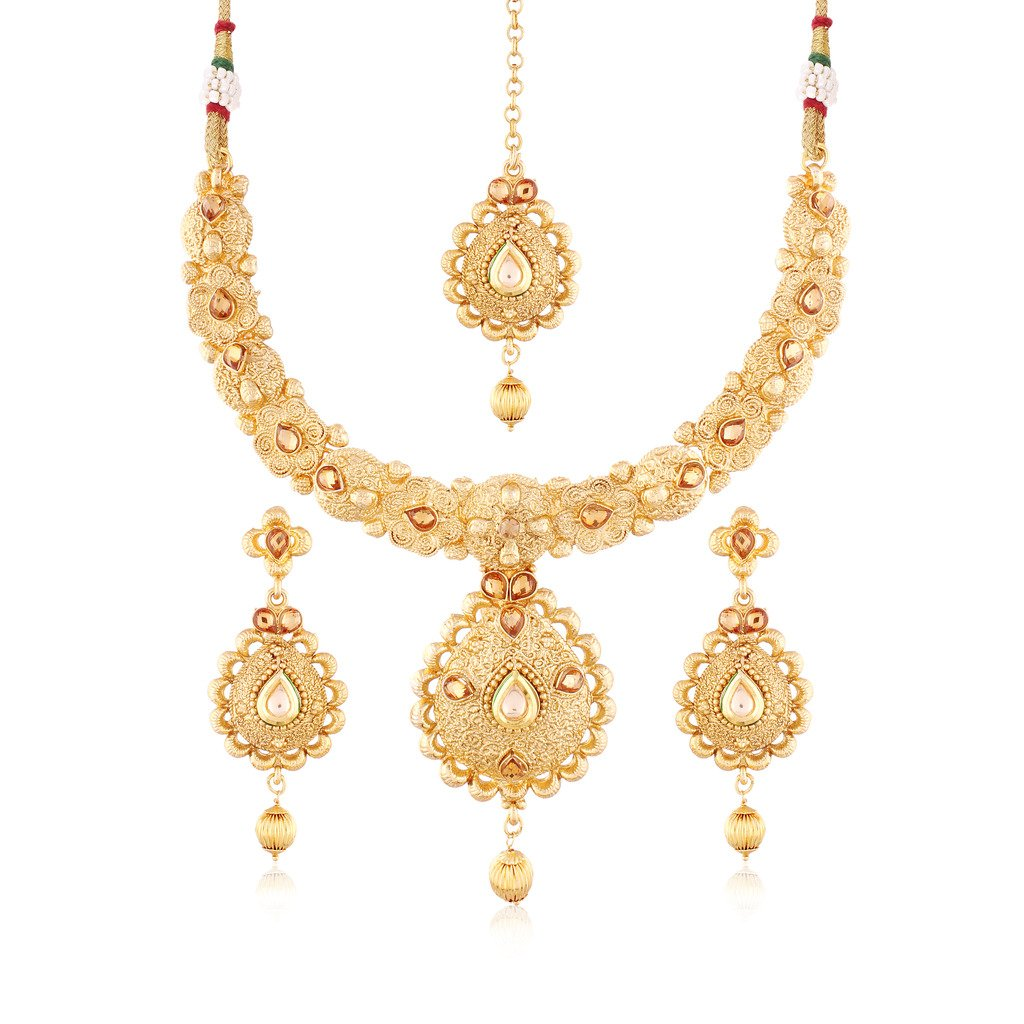 I Jewels Gold Plated Traditional Jewellery Set with Maang Tikka for Women MS112 Isha Creation