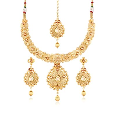 I Jewels 24K Gold Plated Traditional Jewellery Set with Maang Tikka for Women MS112  sc 1 st  Amazon.in & Buy I Jewels 24K Gold Plated Traditional Jewellery Set with Maang ...