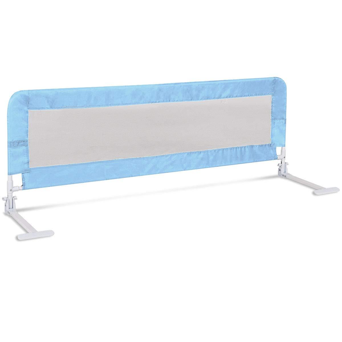 COSTWAY Bettgitter Rausfallschutz Bettschutzgitter Kinderbettgitter Babybettgitter Kinderbett Fallschutz 150 x 54cm Faltbar (Blau)