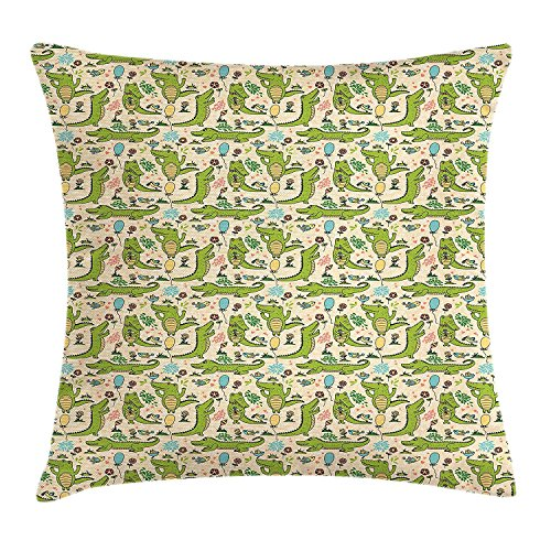 (Alligator Throw Pillow Cushion Cover, Happy Party with Dancing Crocodiles Flower Field and Balloons Birthday Cartoon, Decorative Square Accent Pillow Case, 18 X 18 inches, Multicolor)