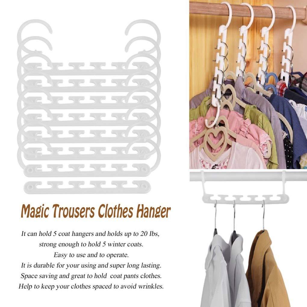 Space Saving - Portable 8 Pcs Space Saving Magic Trousers T Shirt Pants Laundry Clothes Hanger Coat Organizer - Monitor Pack Vertical Treadmill Compartment Shelf Cabinet Rowing Extension Aquarium
