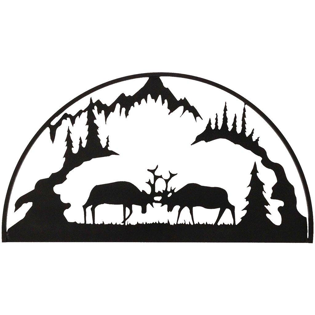 7055 Inc Rustic Elements Fighting Elk Hoop Metal Wall Art, Hammered Black 700371828806