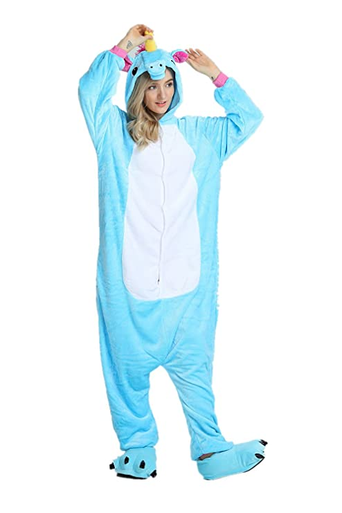 Cousinpjs Adults Onesie Unicorn Cosplay Costume Sleepwear Halloween Costumes Blue M