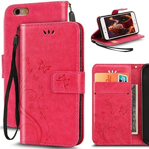 Samsung Galaxy S7 Butterfly Card Slot Case-Aurora Red PU Leather Soft Smooth Floral Wallet Kickstand Case for Sales