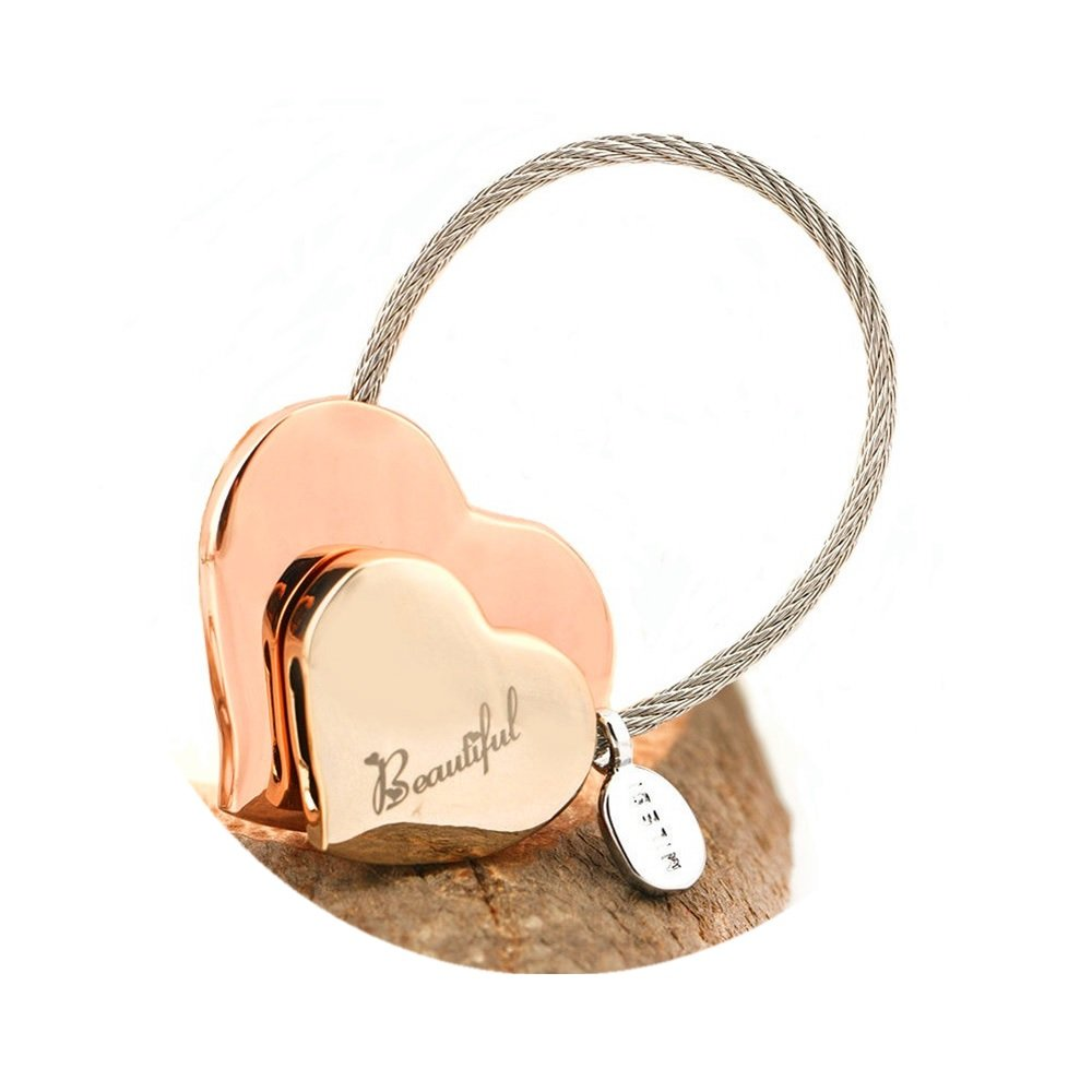 MILESI Heart to Heart Metal Keychain of Love for Women Sweet Couples Gift (Rose Gold-Light Gold) by MILESI