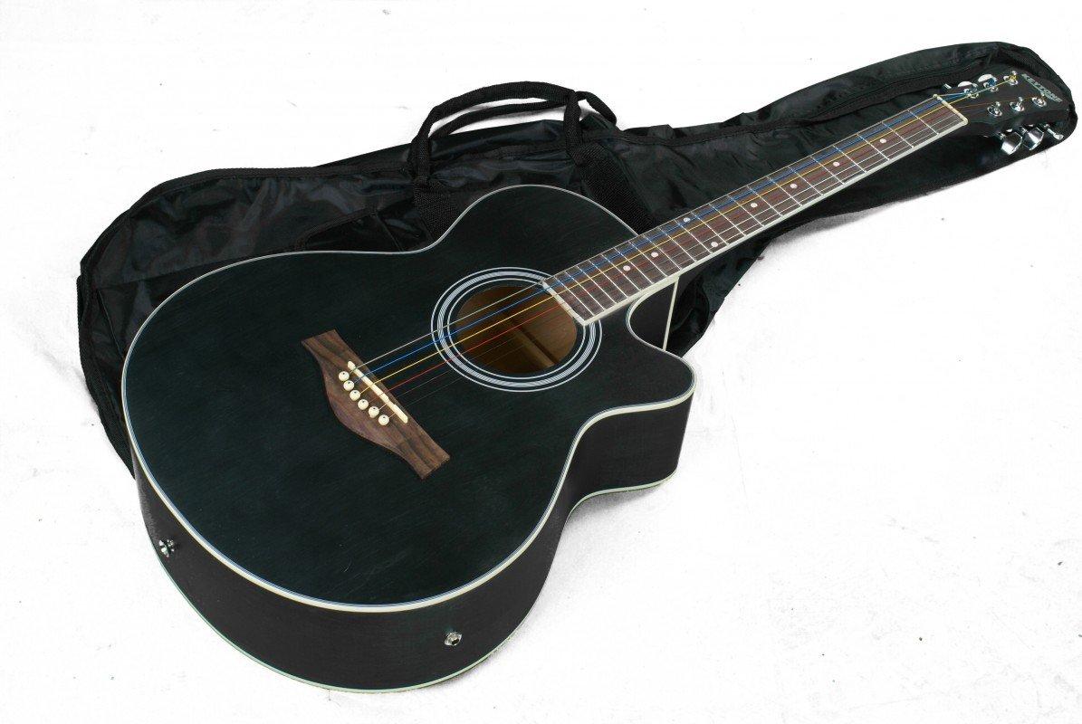 KEYTONE GUITARRA WESTERN NEGRO MATE & PASTILLA & GIGBAG: Amazon.es: Instrumentos musicales