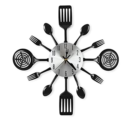 amazon com cigera 16 inch large kitchen wall clocks with spoons and rh amazon com