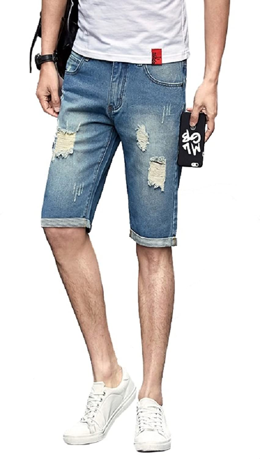 Allonly Men's Fashion Casual Destructed Ripped Slim Fit Denim Shorts Jean Short With Broken Holes