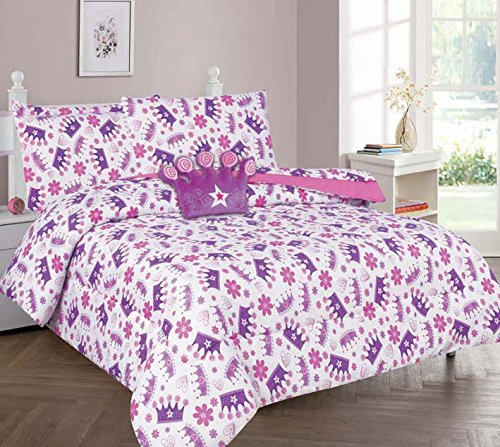 Elegant Home Multicolors Pink White Purple Beautiful Princess Crown Design 6 Piece Comforter Bedding Set for Girls /Kids Bed In a Bag With Sheet Set & Decorative TOY Pillow # Crown 2 (Twin Size)