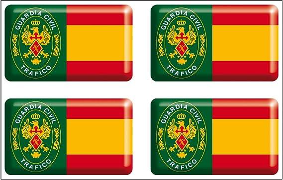 Artimagen Pegatina rectángulos Bandera con Logo Guardia Civil Tráfico 4 uds. Resina 30x18 mm/ud.: Amazon.es: Coche y moto