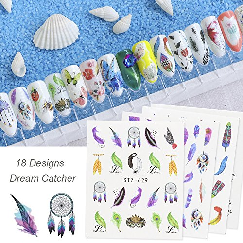 MissBabe 18Sheets Colorful Nail Stickers Water Transfer Decals Nail Art Tattoos Dream Catcher Feather Butterfly Nail Decals Nail Decorations by MissBabe