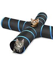 Pawaboo Katzetunnel, Premium-4-Wege-Tunnel Erweiterbar Zusammenklappbar Katzen Spielzeug Maze versetzte Tunnel Katzen Spielzeug mit Pompon und Bells für Kätzchen Kaninchen, Schwarz & Hellbalu