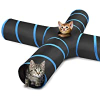 Pawaboo Cat Tunnel, Premium 4 Way Tunnels Extensible Collapsible Cat Play Tunnel Toy Maze Interactive Tube Toy Cat House with Pompon and Bells for Cat Puppy Kitten Rabbit, Black & Light Blue