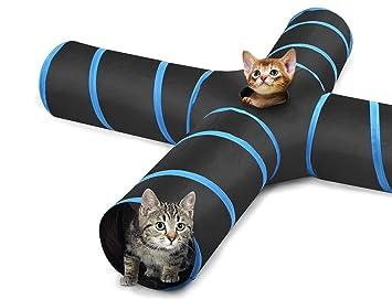 Pawaboo Túnel para Gatos, Prima 4 Vías Túneles Extensible Plegable Gato Jugar Túnel Casa del Laberinto del Juguete con Pompón y Campanas para ...