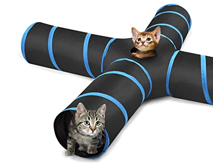 PAWABOO Cat Tunnel, Premium 4 Way Tunnels Extensible Collapsible Cat Play Tunnel Toy Maze Interactive