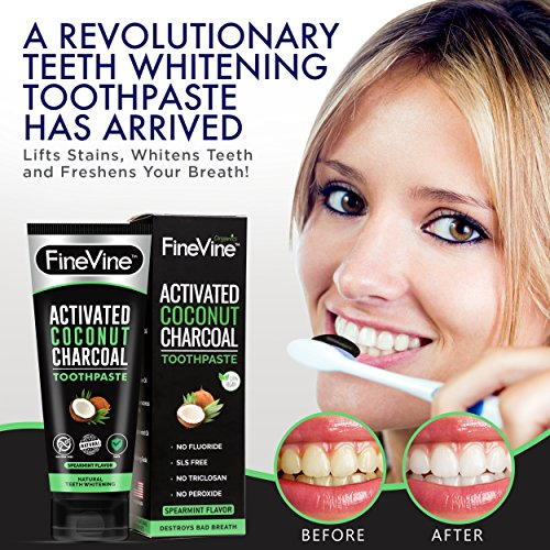 Charcoal Teeth Whitening Toothpaste - Made in USA - WHITENS TEETH NATURALLY and REMOVES BAD BREATH - Best Natural Vegan Organic Toothpaste - (Spearmint Flavor) by FineVine (Image #2)