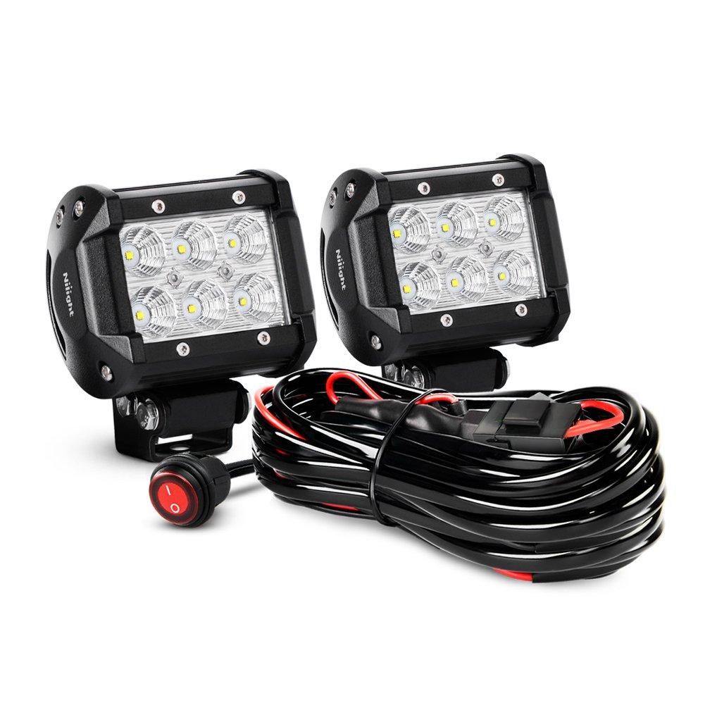 Nilight 2pcs 4 Inch 18w Flood Led Light Bars Work Fog Lights Wiring Harness For Utv Off Road Driving With