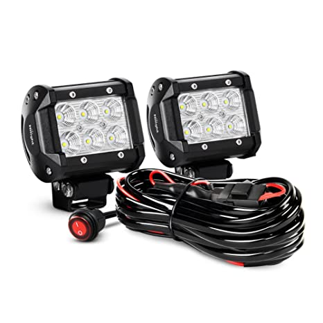 amazon com nilight 2pcs 4 inch 18w flood led light bars led work rh amazon com Fog Light Wiring Harness KC Lights Wiring Harness for Set