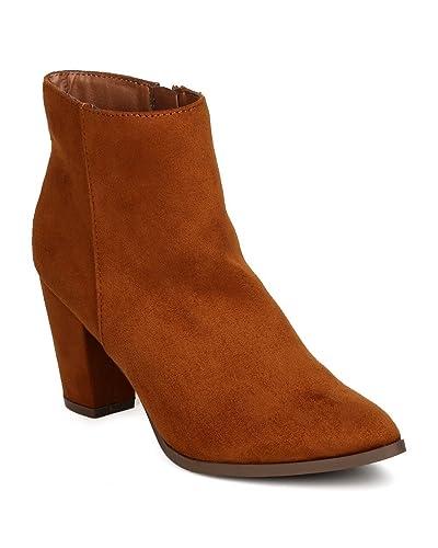 edb3d1cf350 Breckelle s Women Faux Suede Pointy Toe Chunky Heel Bootie GA93 - Tan  (Size  6.0
