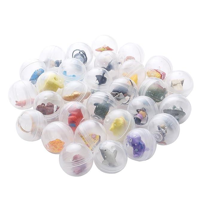 24 cápsulas transparentes tipo huevos sorpresa llenas de juguetes para niños y niñas | Diámetro 3.2 cm | fiestas infantiles de cumpleaños o de navidad ...