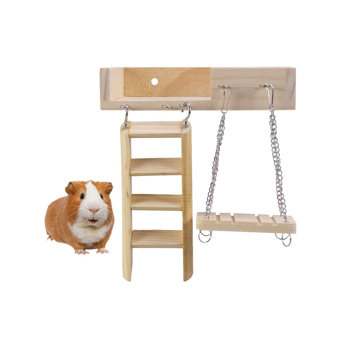 POPETPOP Hamster Platform with Swing-3 Pack Wooden Swing, Ladder and Lookout Platform Set for Mouse, Chinchilla, Rat, Gerbil and Dwarf Hamster by POPETPOP