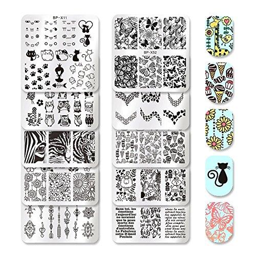BORN PRETTY 10Pcs Nail Art Square Stamping Plates Set Valentines Day Animal Flower Leopard Manicure Image Nail Templates Plates Print Tool Set (10 Pcs)