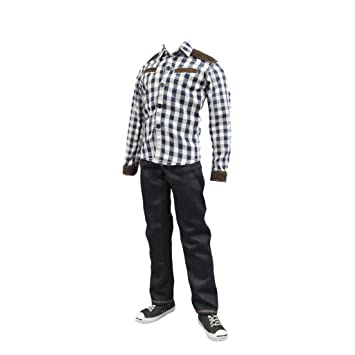 "Black Shirt Jeans Sets 1//6 Scale Casual Suits Fit 12/"" Male Action Figure Toys"