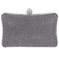 Fawziya Mini Crown Big Clutch Purses For Women Rhinestone Clutch Evening Bag-Black