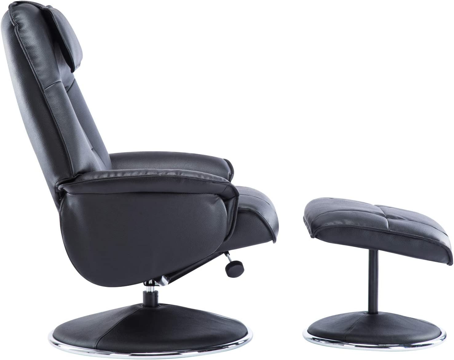 The Avant Garde Plush Leather Swivel Recliner Chair /& Matching Footstool in Earth