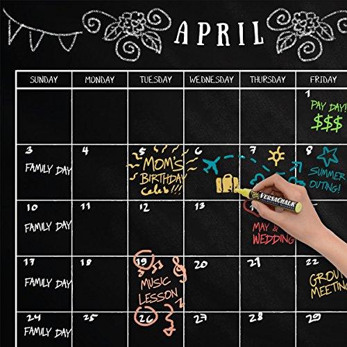 "Large Erasable Chalkboard Calendar Wall Decal Sticker - 24""x 36"" (Classic Style) by VersaChalk Photo #6"